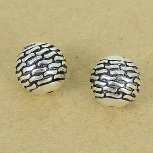 2 PCS 9.5mm Stone Pattern Beads - S925 Sterling Silver WSP388X2