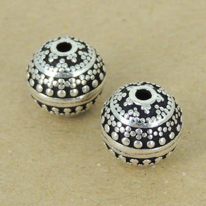 2 PCS Vintage Round 11mm Art Deco Beads - S925 Sterling Silver WSP386X2