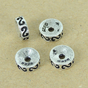 4 PCS Seamless Vintage Spacer Beads - S925 Sterling Silver - Wholesale by Gem & Silver WSP392X4