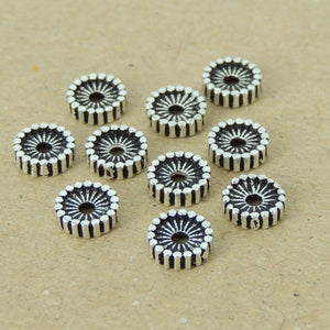 10 PCS Vintage Ridge Spacer Beads - S925 Sterling Silver WSP398X10