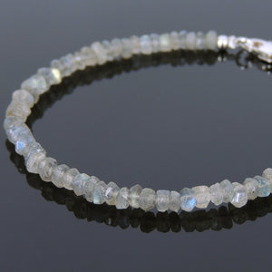 2x4mm Labradorite Healing Gemstone Bracelet with S925 Sterling Silver Spacer Beads & Clasp - Handmade by Gem & Silver BR616