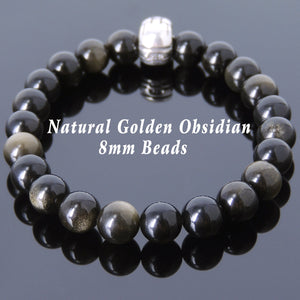8mm Golden Obsidian Healing Gemstone Bracelet with S925 Sterling Silver Superhero Charm - Handmade by Gem & Silver BR608