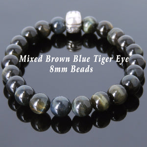 8mm Brown Blue Tiger Eye Healing Gemstone Bracelet with S925 Sterling Silver Warrior Courage Charm - Handmade by Gem & Silver BR609