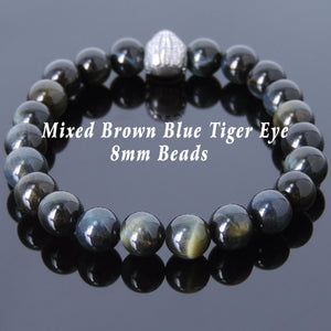 8mm Brown Blue Tiger Eye Healing Gemstone Bracelet with S925 Sterling Silver Courage Indian Skull Bead - Handmade by Gem & Silver BR611