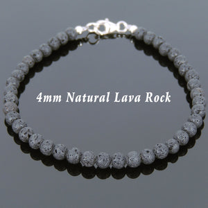 4mm Lava Rock Healing Stone Bracelet with S925 Sterling Silver Spacer Beads & Clasp - Handmade by Gem & Silver BR615