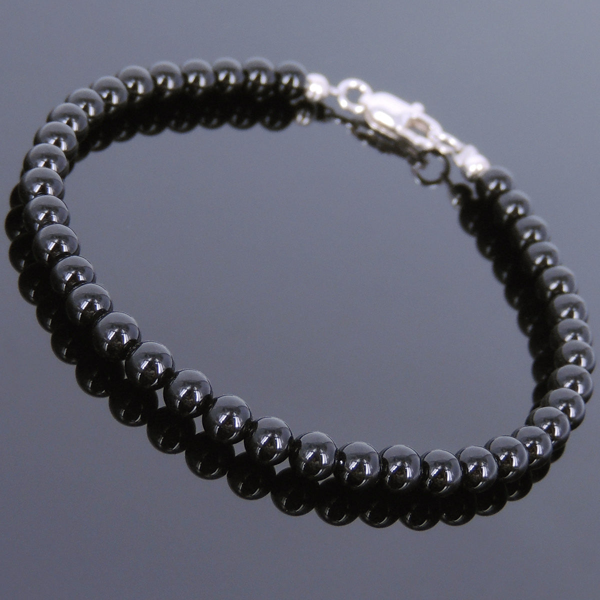 4mm Bright Black Onyx Healing Gemstone Bracelet with S925 Sterling Silver Spacer Beads & Clasp - Handmade by Gem & Silver BR617