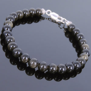6mm Golden Obsidian Healing Gemstone Bracelet with S925 Sterling Silver Spacer Beads & Clasp - Handmade by Gem & Silver BR618