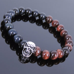 8mm Blue & Red Tiger Eye Healing Gemstone Bracelet with S925 Sterling Silver Protection Skull Charm - Handmade by Gem & Silver BR619E