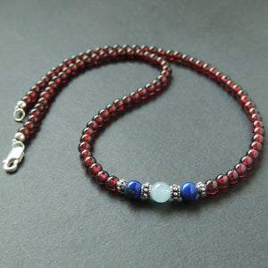 Garnet Aquamarine Lapis Lazuli Healing Gemstone Necklace with S925 Sterling Silver Spacer Beads & Clasp - Handmade by Gem & Silver NK081