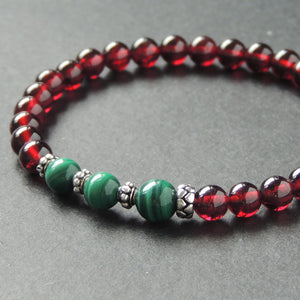 Garnet & Malachite Healing Gemstone Bracelet with S925 Sterling Silver Spacers - Handmade by Gem & Silver BR624