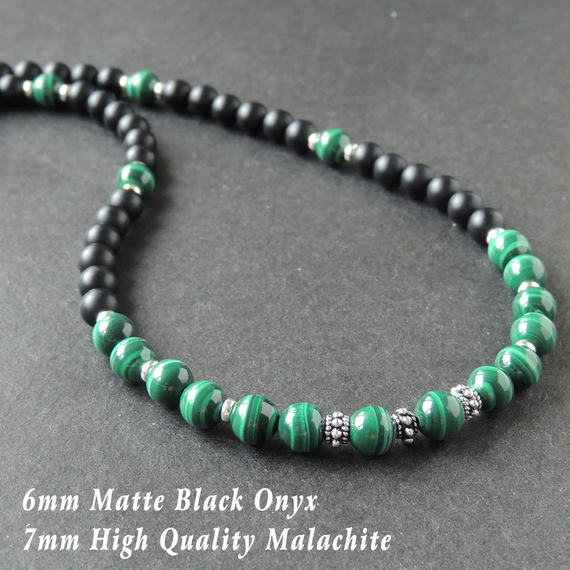 Malachite & Matte Black Onyx Healing Gemstone Necklace with S925 Sterling Silver Spacer Beads & S-hook Clasp - Handmade by Gem & Silver NK084