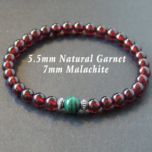 Garnet & Malachite Healing Gemstone Bracelet with S925 Sterling Silver Spacers - Handmade by Gem & Silver BR626
