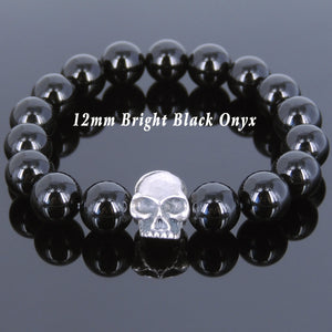 12mm Bright Black Onyx Healing Gemstone Bracelet with S925 Sterling Silver Skull Protection Charm - Handmade by Gem & Silver BR630