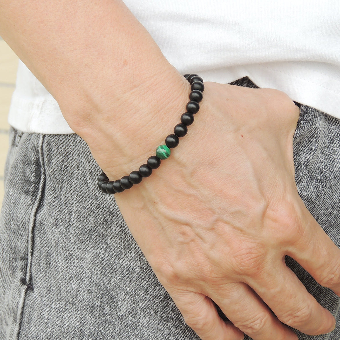 6mm Matte Black Onyx & 7mm Malachite Healing Gemstone Bracelet - Handmade by Gem & Silver BR625