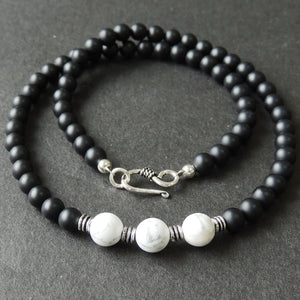 White Howlite & Matte Black Onyx Healing Gemstone Necklace with S925 Sterling Silver Artisan Spacers & Clasp - Handmade by Gem & Silver NK086