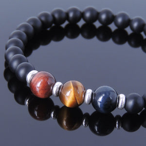 Matte Black Onyx & Red, Brown, Blue Tiger Eye Healing Gemstone Bracelet with S925 Sterling Silver Spacer Beads - Handmade by Gem & Silver BR629