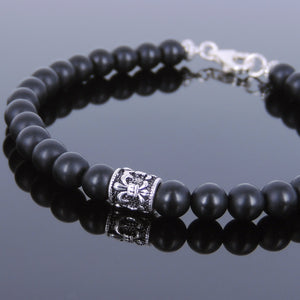6mm Matte Black Onyx Healing Gemstone Bracelet with S925 Sterling Silver Fleur de Lis Barrel Bead & Clasp - Handmade by Gem & Silver BR143