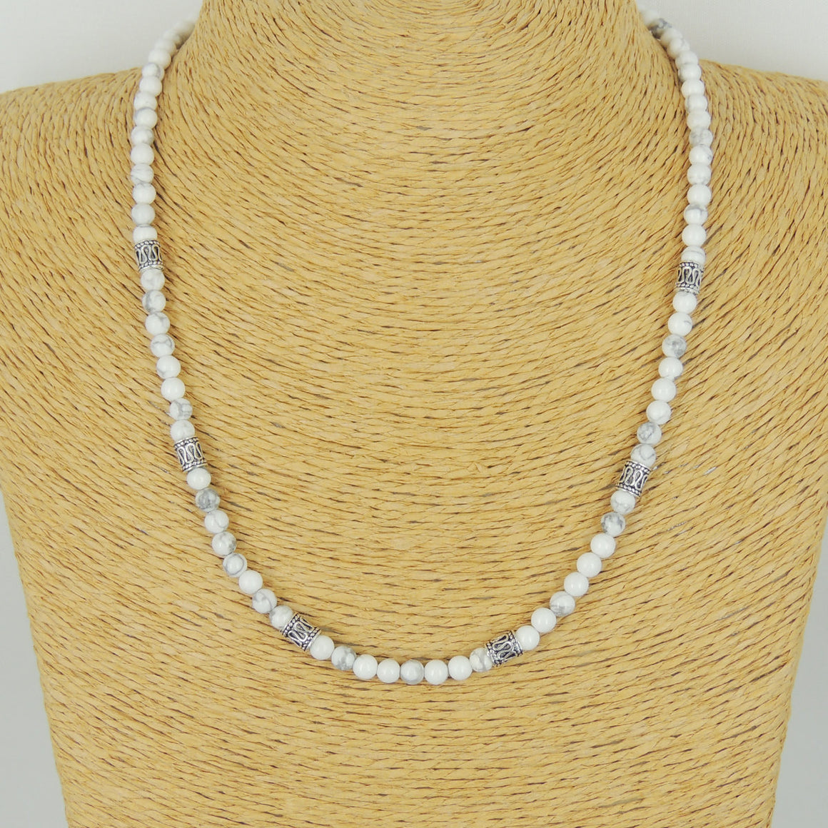 5mm White Howlite Healing Gemstone Necklace with S925 Sterling Silver Barrel Beads & Clasp - Handmade by Gem & Silver NK091