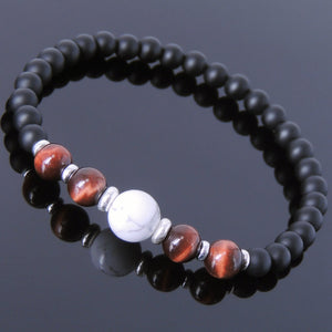 Red Tiger Eye White Howlite & Matte Black Onyx Healing Gemstone Bracelet with S925 Sterling Silver Spacers - Handmade by Gem & Silver BR636