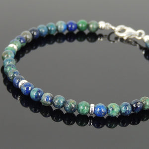 4mm Mixed Chrysocolla Lapis Gemstone Bracelet with S925 Sterling Silver Spacer Beads & Clasp - Handmade by Gem & Silver BR644