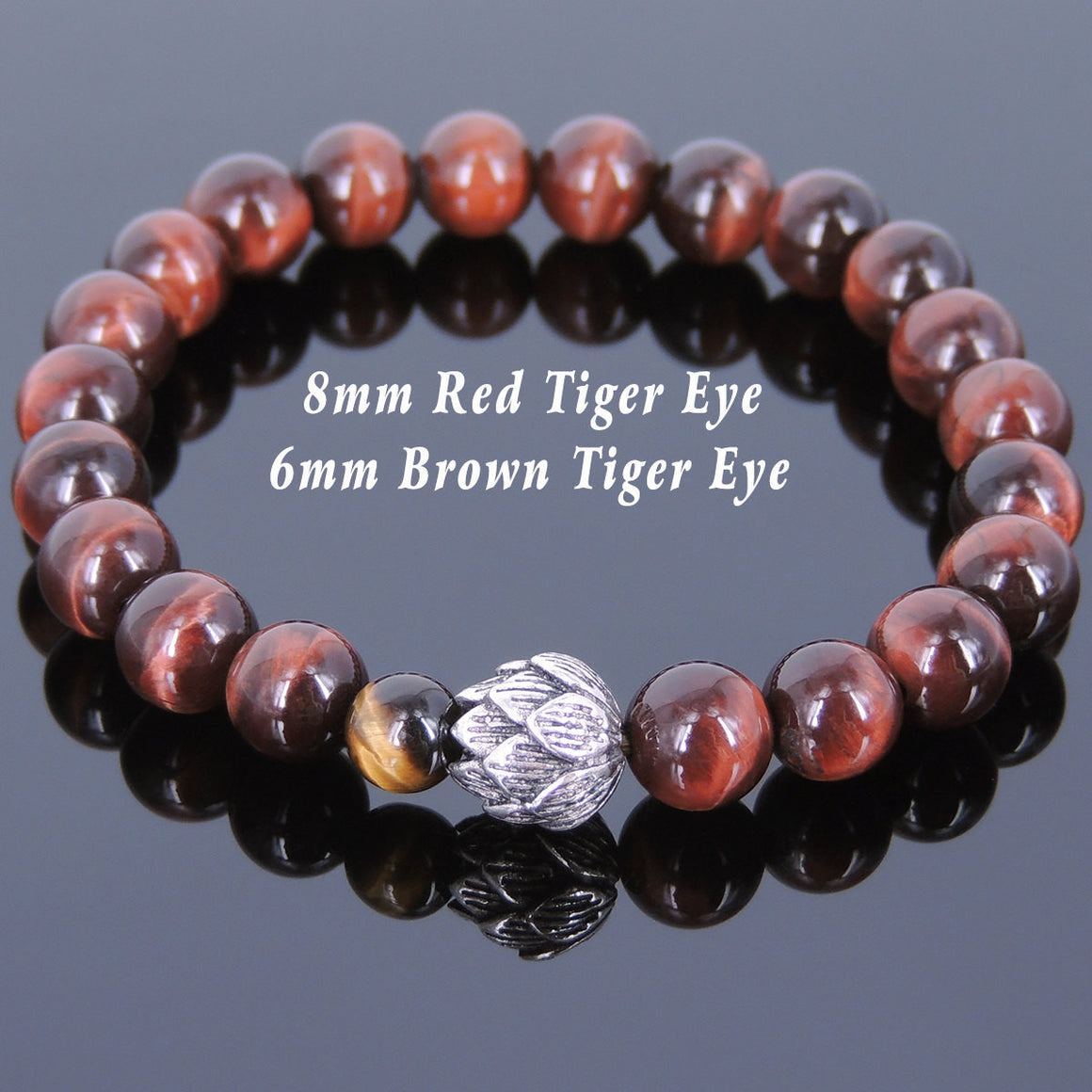 Red & Brown Tiger Eye Healing Gemstone Bracelet with S925 Genuine Sterling Silver Lotus Bead - Handmade by Gem & Silver TSB