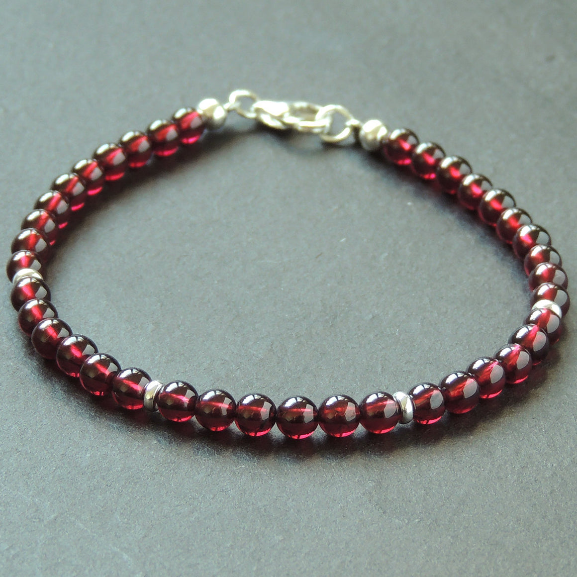 4.5mm Grade AAA Garnet Healing Gemstone Bracelet with S925 Sterling Silver Spacer Beads & Clasp - Handmade by Gem & Silver BR641