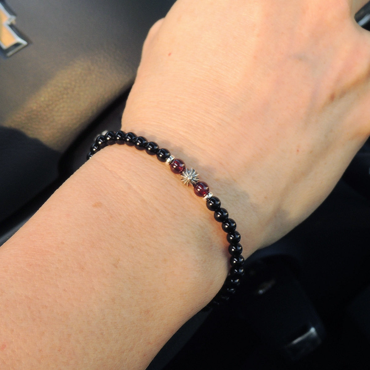 Garnet & Black Onyx Healing Gemstone Bracelet with S925 Sterling Silver Spacers Cross & Clasp - Handmade by Gem & Silver BR650