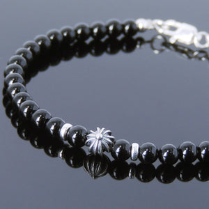4mm Bright Black Onyx Healing Gemstone Bracelet with S925 Sterling Silver Cross Bead Spacers & Clasp - Handmade by Gem & Silver BR655