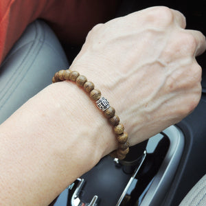 Golden Agarwood Bracelet for Prayer & Meditation with S925 Sterling Silver OM Bead - Handmade by Gem & Silver BR673