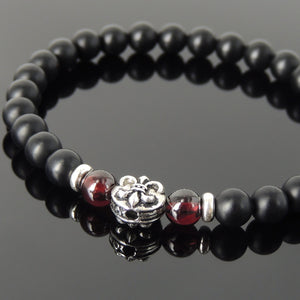 6mm Garnet & Matte Black Onyx Healing Gemstone Bracelet with S925 Sterling Silver Spacers & Fleur de Lis Bead - Handmade by Gem & Silver BR667