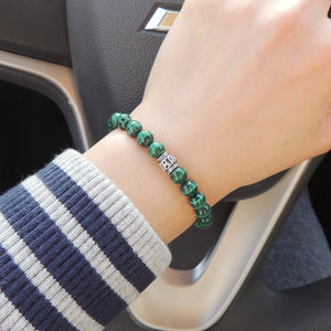 7mm Malachite Healing Gemstone Bracelet with S925 Sterling Silver OM Meditation Bead - Handmade by Gem & Silver BR672