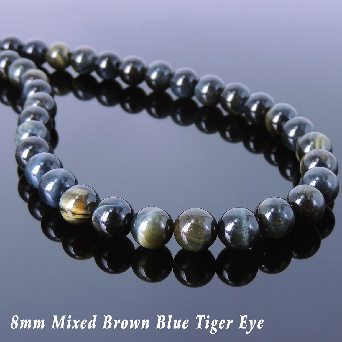 8mm Rare Mixed Brown Blue Tiger Eye Healing Gemstone Necklace with S925 Sterling Silver Spacers & S-Hook Clasp - Handmade by Gem & Silver NK096