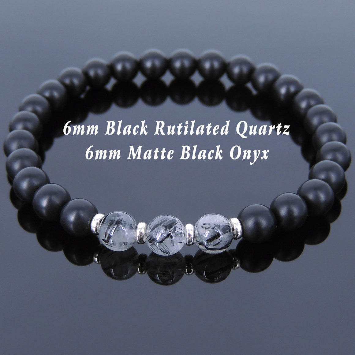 6mm Matte Black Onyx & Black Rutilated Quartz Healing Gemstone Bracelet with S925 Sterling Silver Spacers - Handmade by Gem & Silver BR678