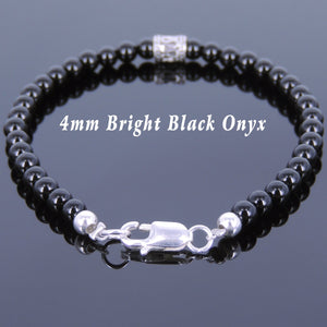 4mm Bright Black Onyx Healing Gemstone Bracelet with S925 Sterling Silver Artisan Barrel Bead & Clasp - Handmade by Gem & Silver BR680