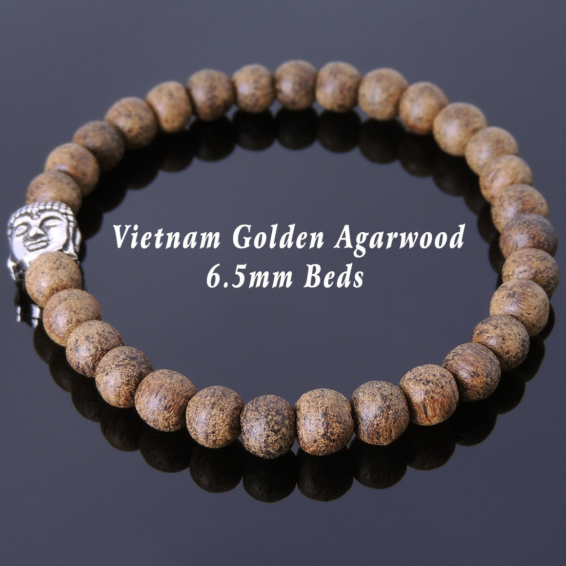 6.5mm Golden Agarwood Meditation Bracelet with S925 Sterling Silver Guanyin Buddha Bead - Handmade by Gem & Silver BR683