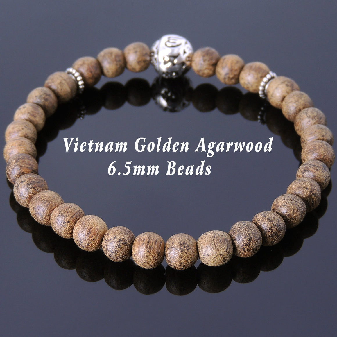 6.5mm Golden Agarwood Meditation Bracelet with S925 Sterling Silver Spacers & OM Mantra Bead - Handmade by Gem & Silver BR684