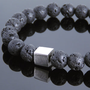 8mm Lava Rock Healing Stone Bracelet with S925 Sterling Silver Geometric Balance Cube Bead - Handmade by Gem & Silver BR685