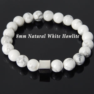 8mm White Howlite Healing Gemstone Bracelet with S925 Sterling Silver Geometric Cube Balance Bead - Handmade by Gem & Silver BR692
