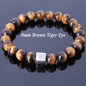 8mm Brown Tiger Eye Healing Gemstone Bracelet with S925 Sterling Silver Geometric Cube Balance Bead - Handmade by Gem & Silver BR686