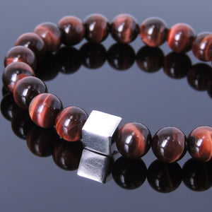 8mm Red Tiger Eye Healing Gemstone Bracelet with S925 Sterling Silver Geometric Cube Balance Bead - Handmade by Gem & Silver BR687