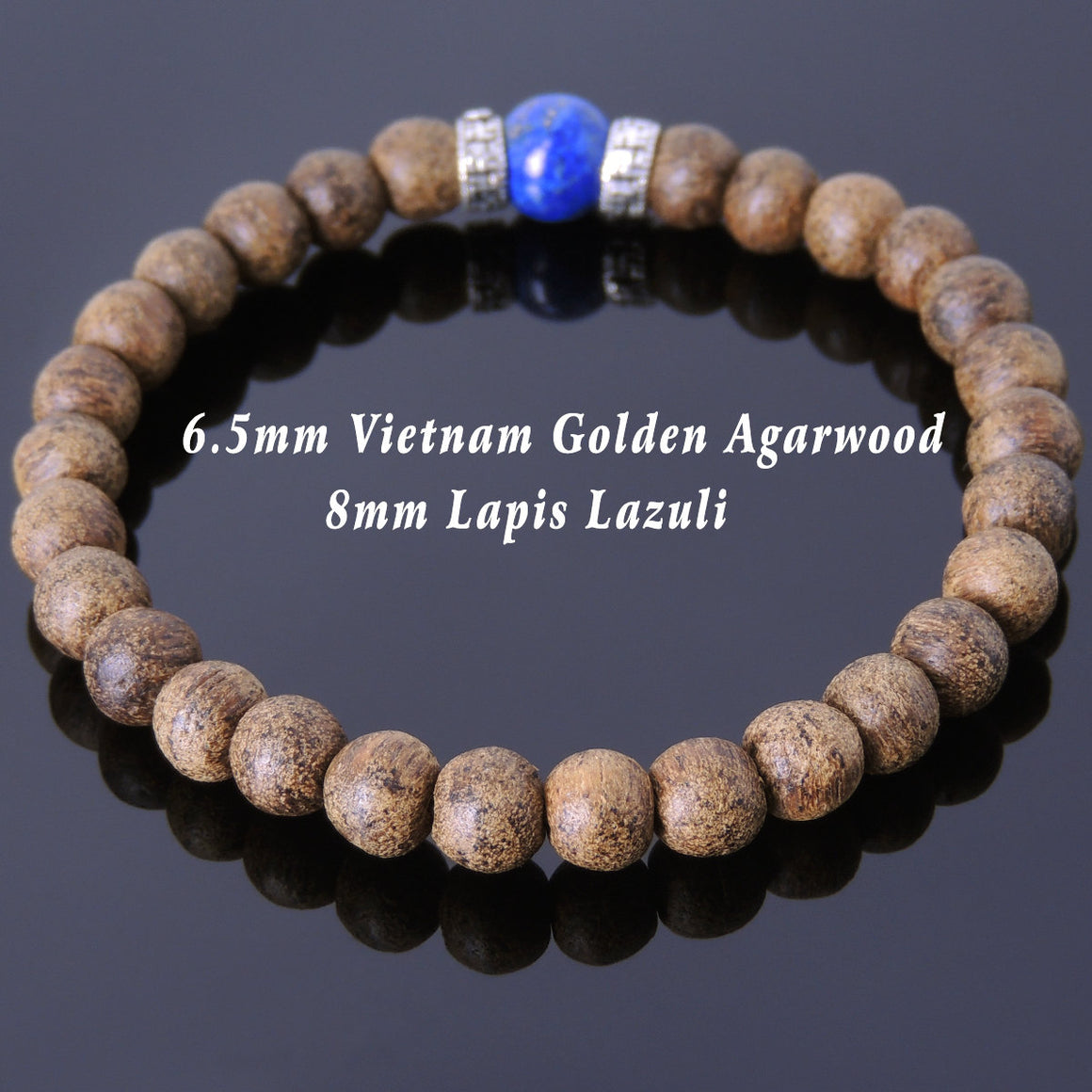Golden Agarwood & Lapis Lazuli Meditation Bracelet with S925 Sterling Silver Buddhism Protection Spacers - Handmade by Gem & Silver BR682
