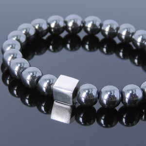 8mm Hematite Healing Gemstone Bracelet with S925 Sterling Silver Geometric Cube Balance Bead - Handmade by Gem & Silver BR691