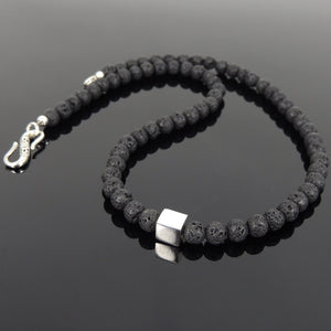 6mm Lava Rock Healing Stone Necklace with S925 Sterling Silver Cube Balance Bead & S-hook Clasp - Handmade by Gem & Silver NK098