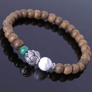 Malachite, White Howlite, & Agarwood Bracelet for Prayer & Meditation with S925 Sterling Silver Spacer & Lotus Protection Bead - Handmade by Gem & Silver BR698
