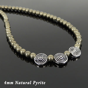 4mm Gold Pyrite Healing Gemstone Necklace with S925 Sterling Silver Vintage Abstract Charm Beads & Clasp - Handmade by Gem & Silver NK106