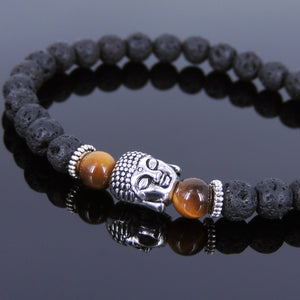 6mm Brown Tiger Eye & Lava Rock Healing Gemstone Bracelet with Tibetan Silver Sakyamuni Buddha & Spacers - Handmade by Gem & Silver TSB118