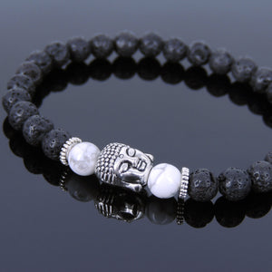 6mm White Howlite & Lava Rock Healing Gemstone Bracelet with Tibetan Silver Sakyamuni Buddha & Spacers - Handmade by Gem & Silver TSB124