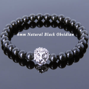 6mm Rainbow Black Obsidian Healing Gemstone Bracelet with Vintage Tibetan Silver Lion Head Courage Charm - Handmade by Gem & Silver TSB145