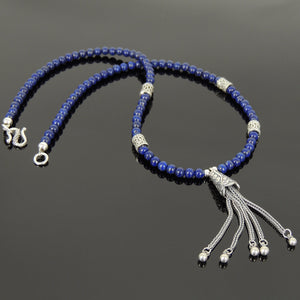 4mm Lapis Lazuli Healing Gemstone Necklace with S925 Sterling Silver Asian Peacock Pendant, Barrel Beads & Clasp - Handmade by Gem & Silver NK108