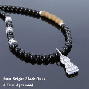 4mm Bright Black Onyx & Agarwood Healing Gemstone Necklace with S925 Sterling Silver Gaunyin Buddha Pendant, OM Spacers, & Lobster Clasp - Handmade by Gem & Silver NK110